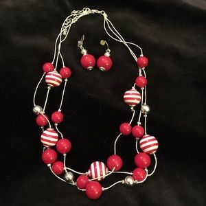 Croft & Barrow Red Necklace and Earrings Set